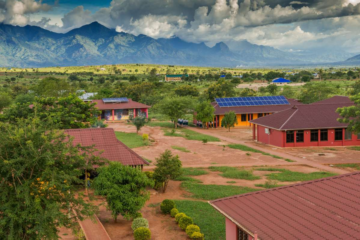 Students enjoy views from a school in Tanzania during their summer service and travel program.