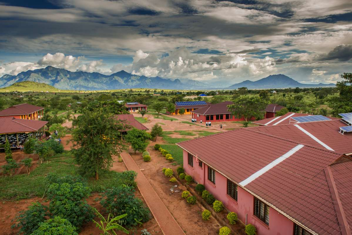 Students enjoy a beautiful campus at a school in Tanzania during their summer service and travel program.