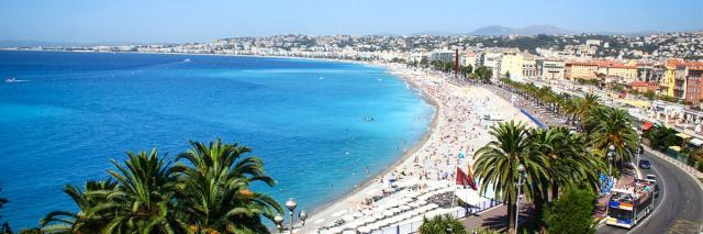 Promenade Anglais in Nice with view of Mediterranean Sea seen on summer teen travel tour in French Riviera