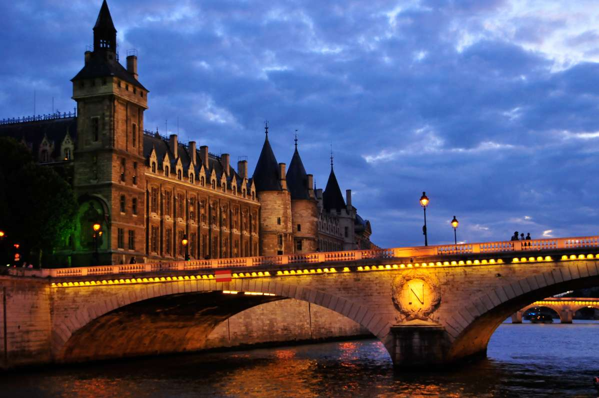 View of River Seine at twilight seen on summer youth travel program