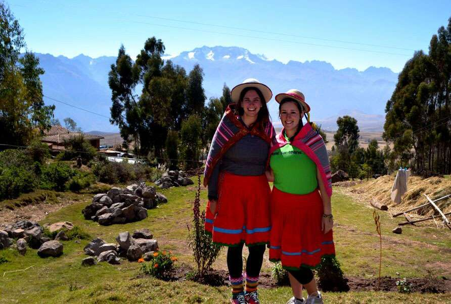 Students wear local clothes on their summer teen tour of Peru.