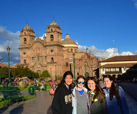 A group of students enjoy the sites of Peru on their summer teen tour.