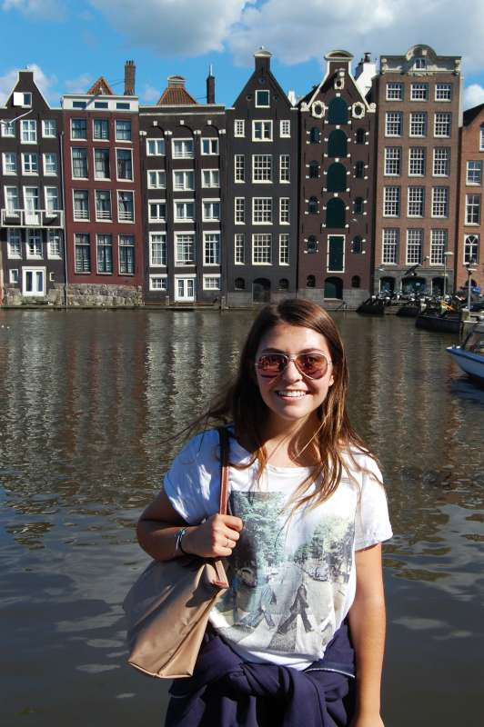 Teen traveler at Netherlands canals on summer youth program