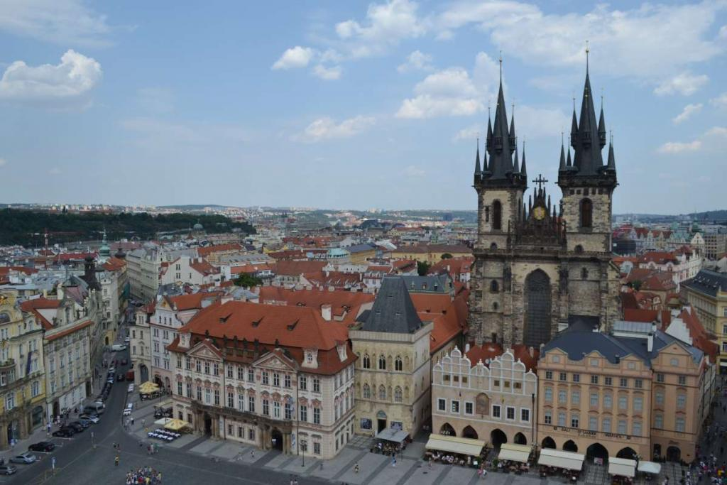 View of Prague Old Town Square seen on summer teen travel tour