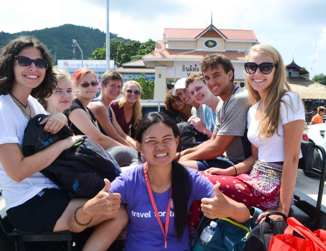 Teenage travelers during summer youth travel program in Thailand