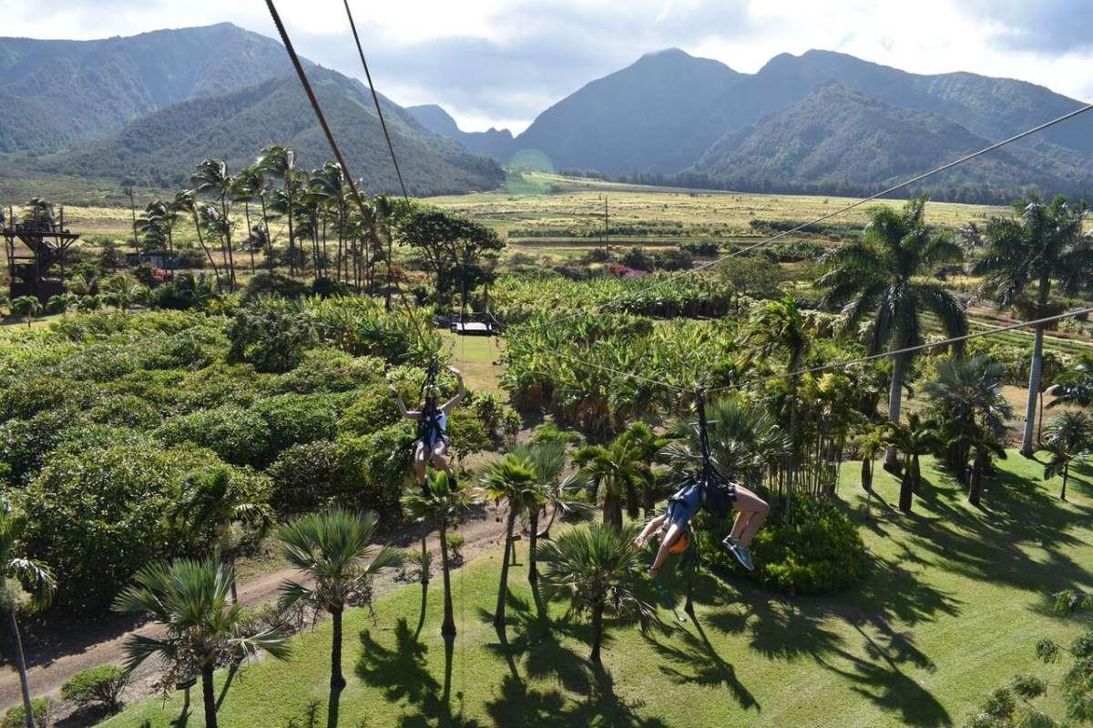 Students zip-line in Hawaii on summer teen service program.