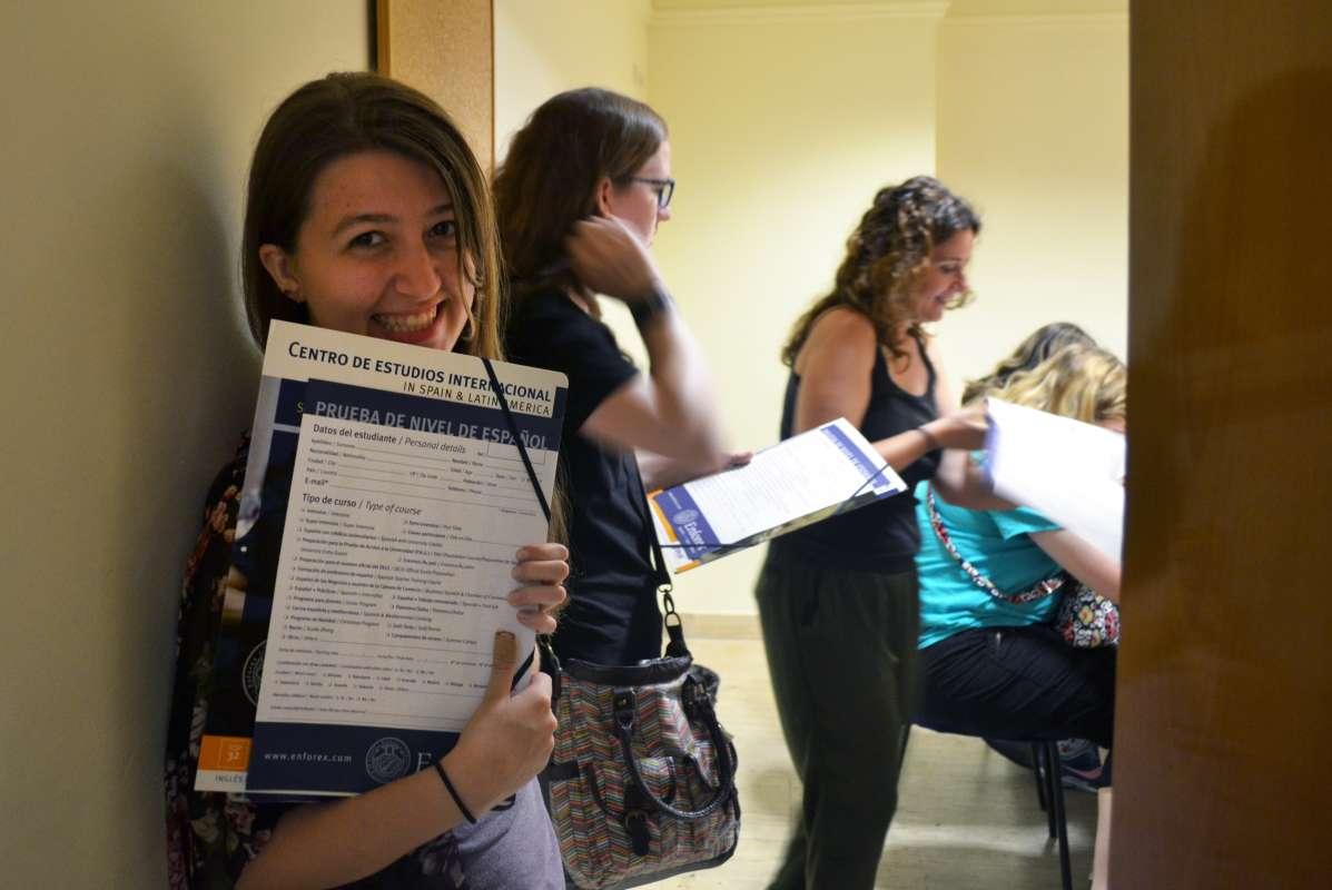 Teenage traveler at Spanish language academy during summer Spanish language immersion program