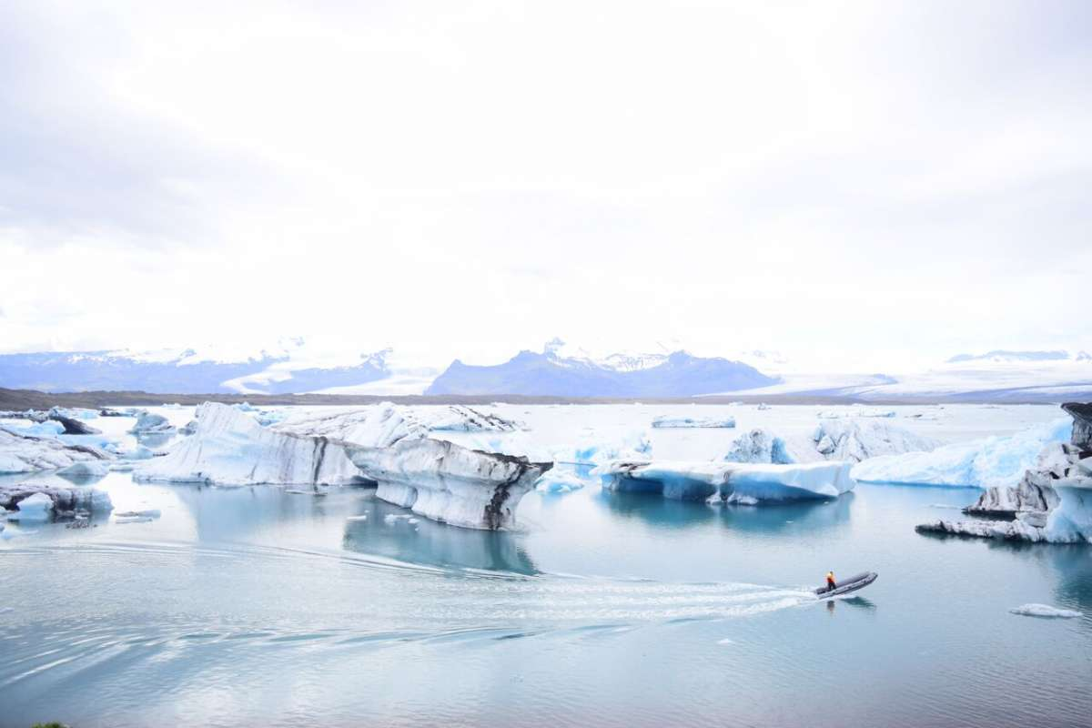 View of glacier lagoon in Iceland seen on summer teen travel adventure program