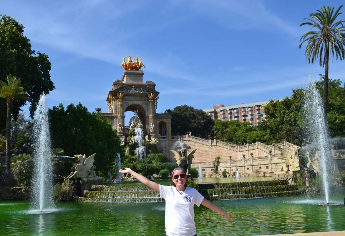 Teenage traveler in Barcelona park during summer Spanish language immersion program