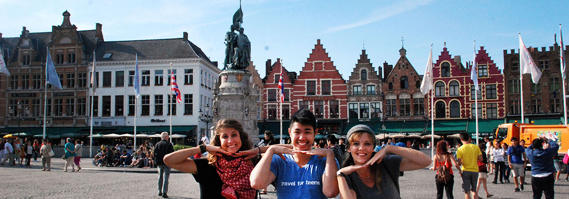 Travelers in Bruges Belgium on summer youth program