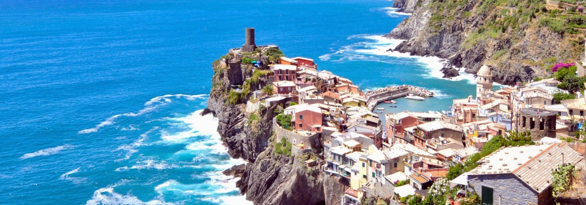 View of Cinque Terre fishing village seen on summer teen travel tour