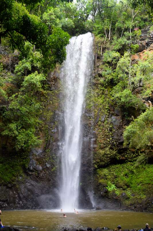 Teens swim under waterfall in Hawaii on summer service and adventure program.