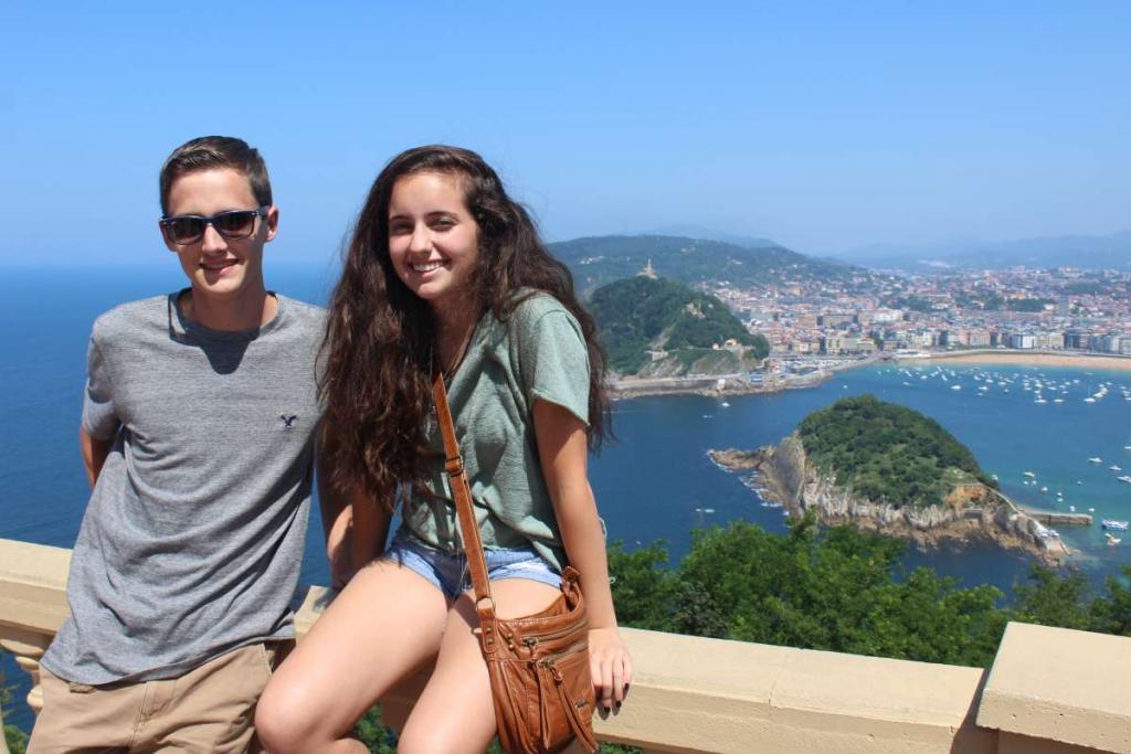 Teenage travelers in San Sebastian during summer Spanish language immersion program