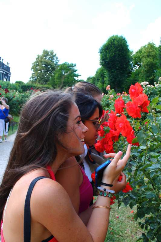 Teen traveler visits gardens in Vienna on summer adventure travel program