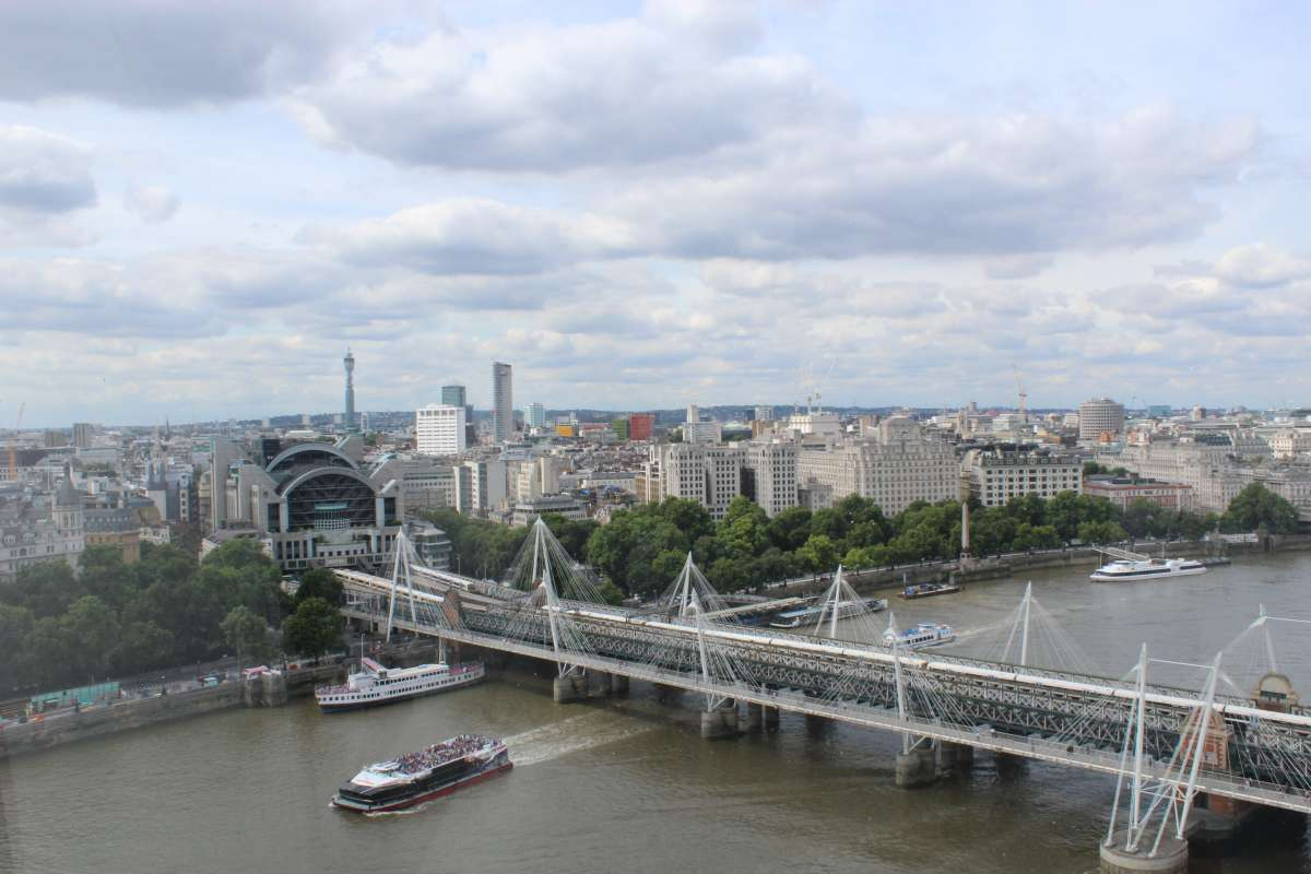 View of River Thames from London Eye seen on summer youth travel program in Europe