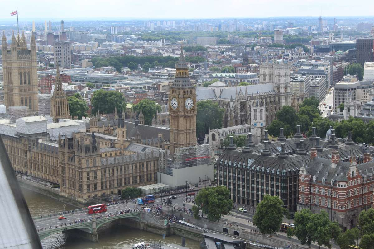 View of Big Ben and Parliament from London Eye seen on summer teen travel tour