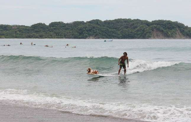 Teen shows off surfing skills in Costa Rica on summer student travel program.