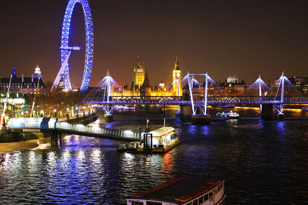 View of London Eye and River Thames at night seen on summer teen travel program