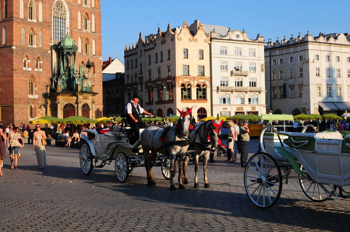 Krakow Main Market Square seen on summer teen travel program