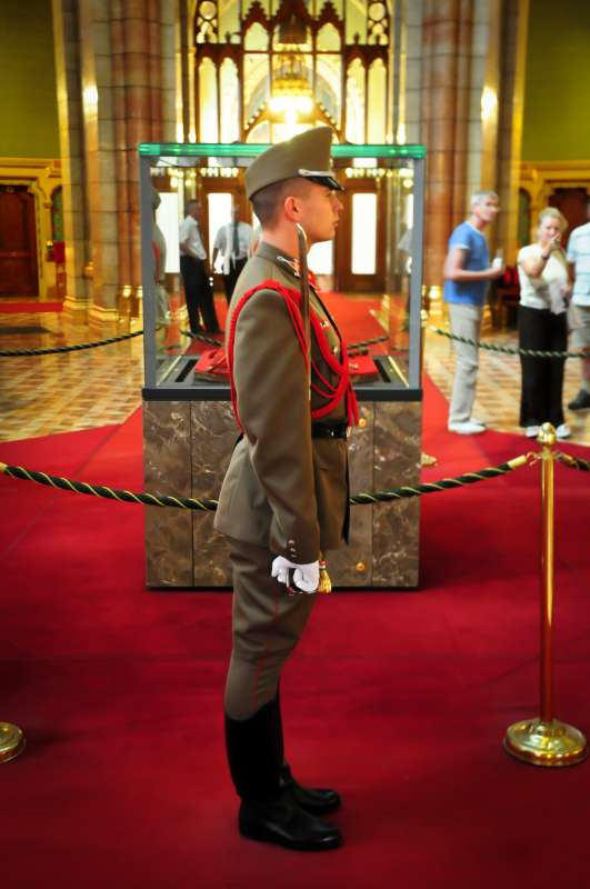 Hungarian Parliament Building guard seen on teen travel tour to Budapest