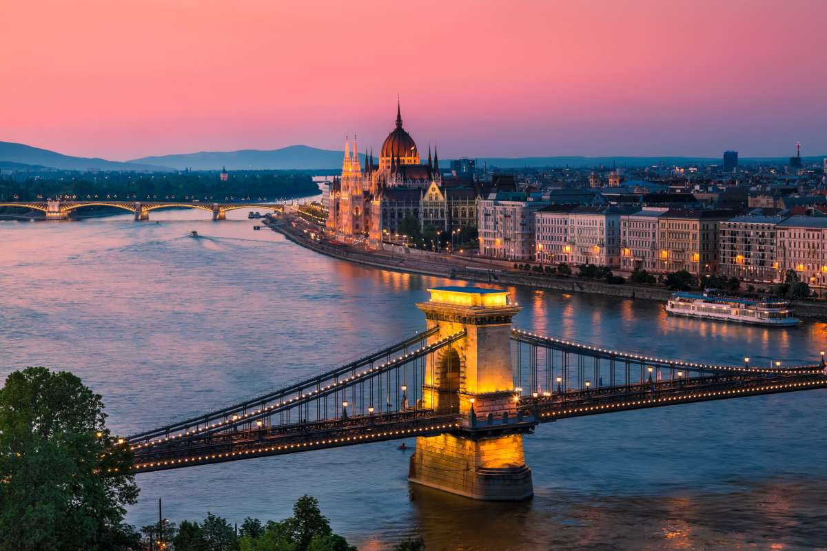 Budapest Parliament seen at twilight on summer teen travel tour
