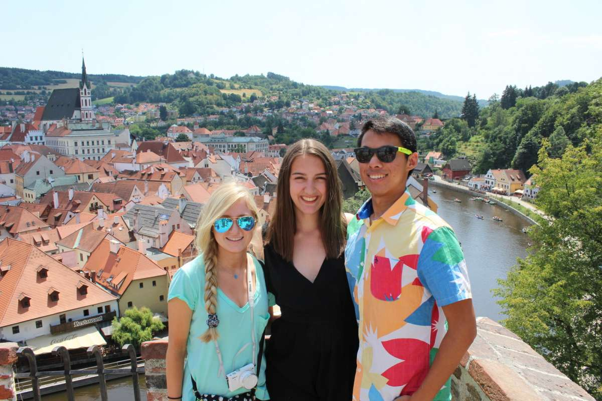 Teens in Cesky Krumlov on summer youth travel program