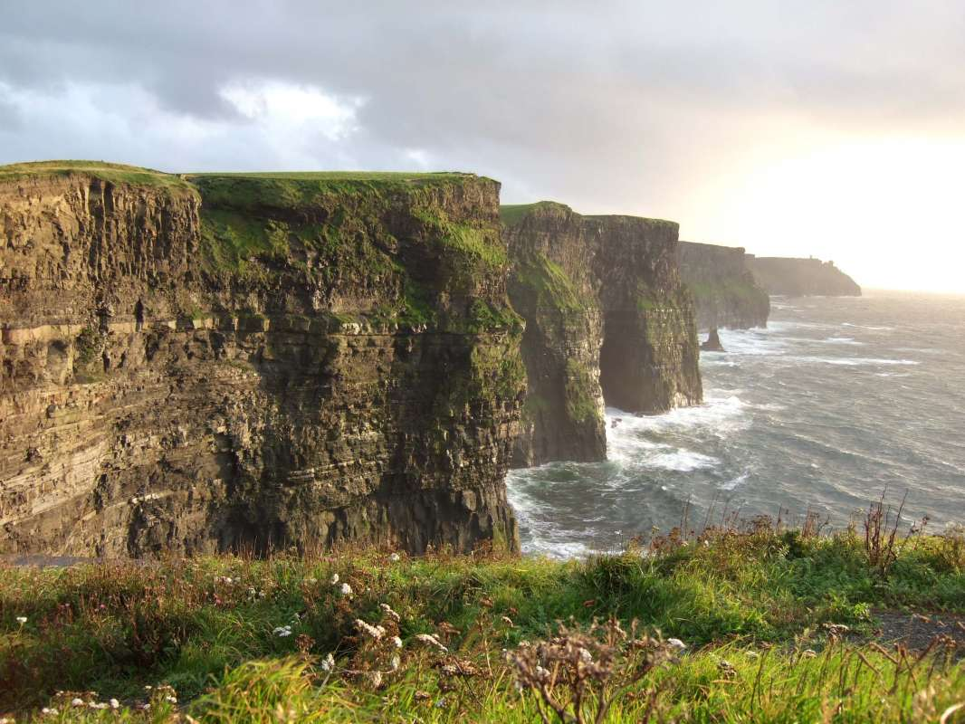 Cliffs of Moher at sunset seen on summer teen travel program in Ireland