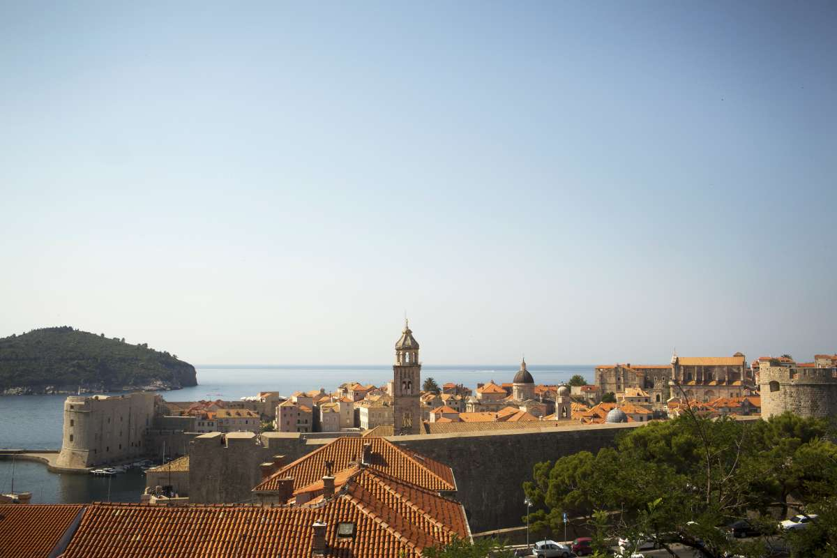View of Dubrovnik seen on summer teen travel tour to Croatia
