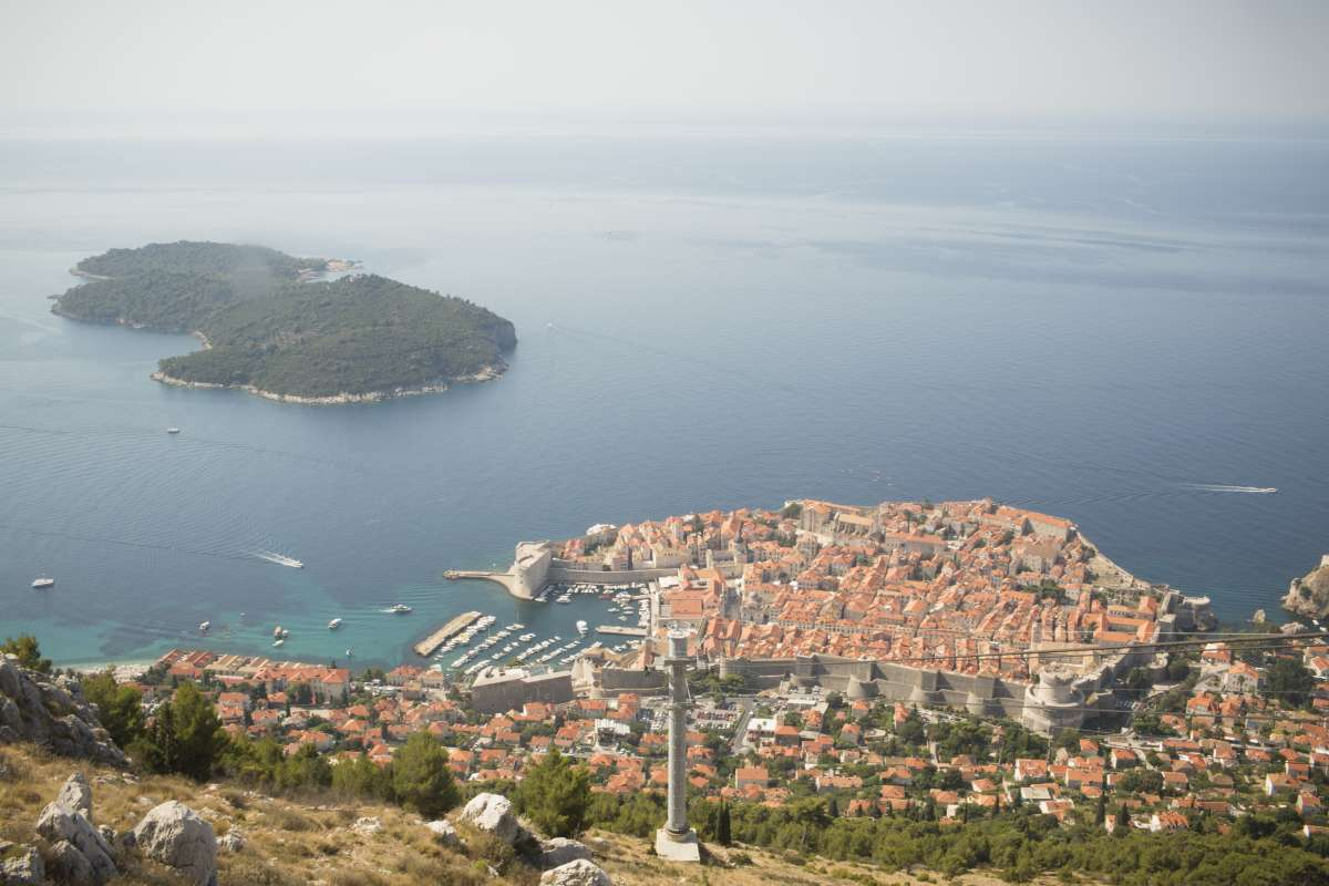 View of Dubrovnik Lokrum Island seen on summer teen travel tour to Croatia
