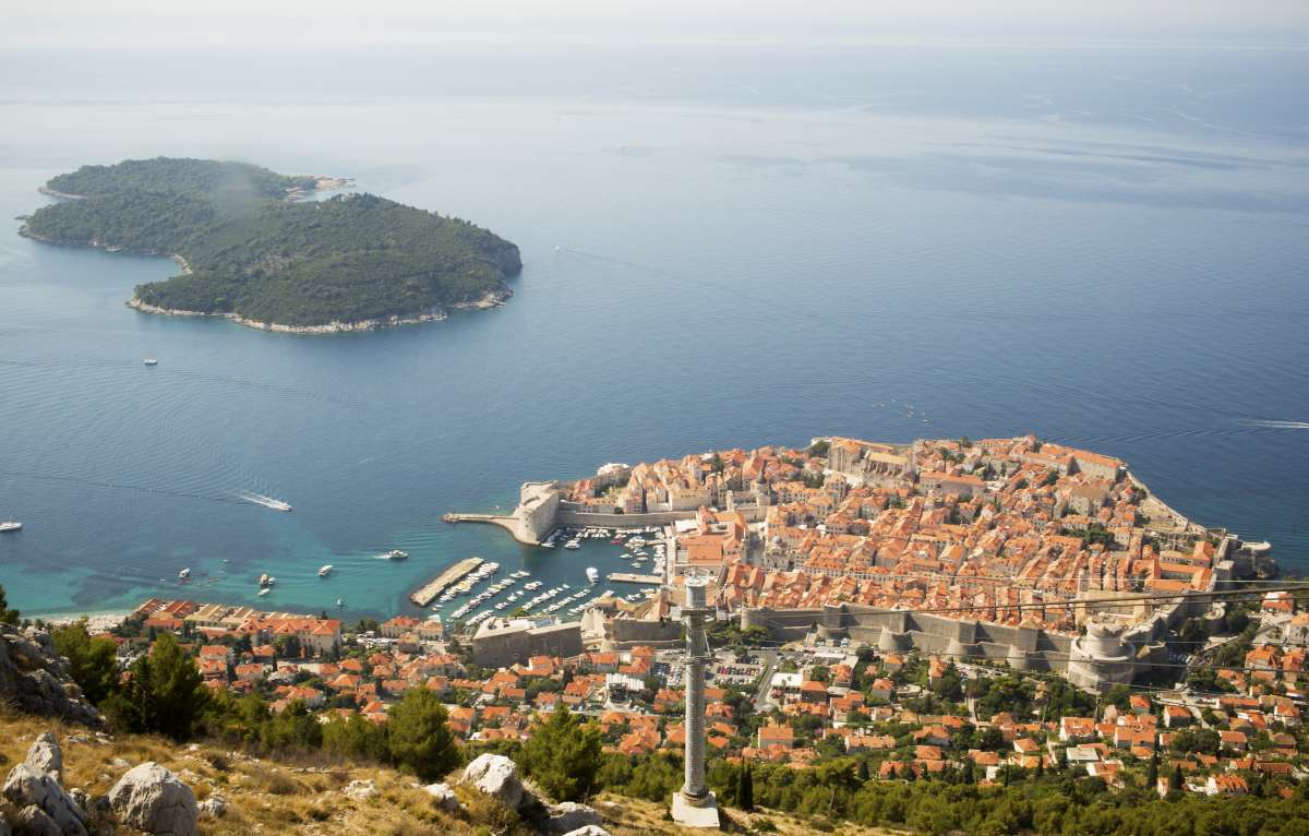 Dubrovnik and Lokrum Island seen on summer teen travel tour in Croatia