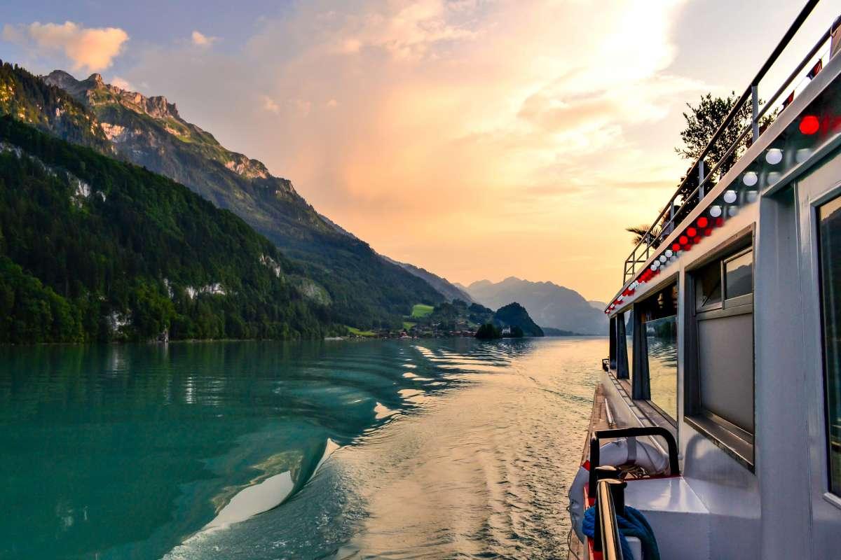 View of Swiss lake seen on summer teen travel tour