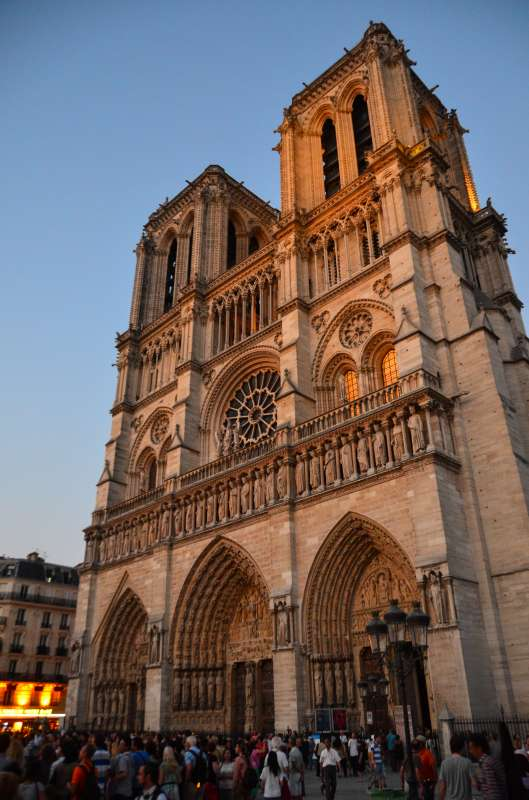 View of Notre Dame Cathedral seen on younger teen student travel program