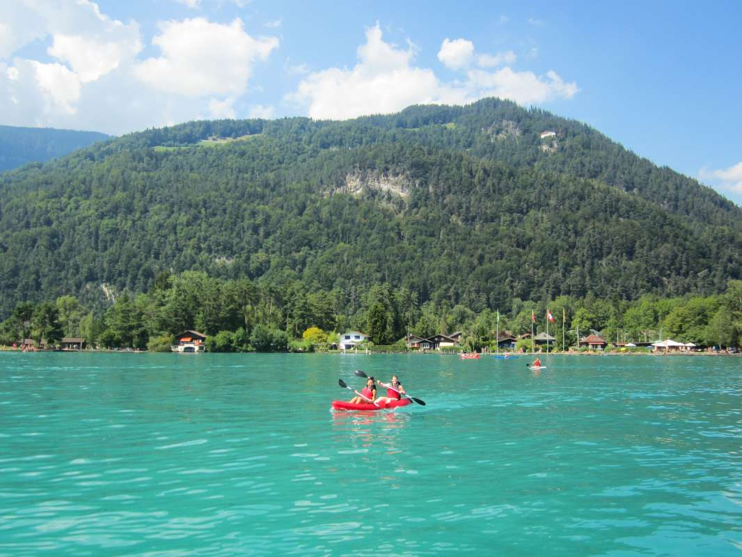 Teens do water sports in Europe during summer travel program