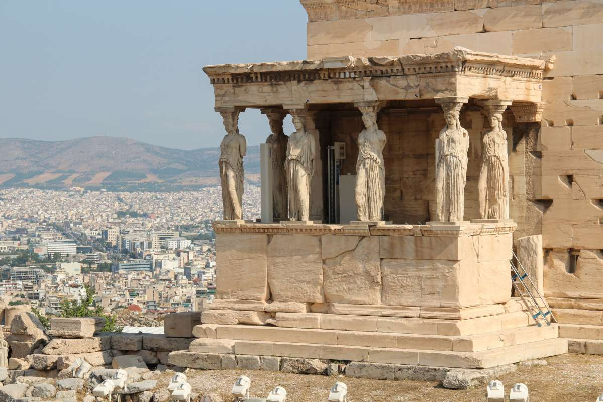 Archaeological ruins seen in Athens during summer youth travel program in Greece