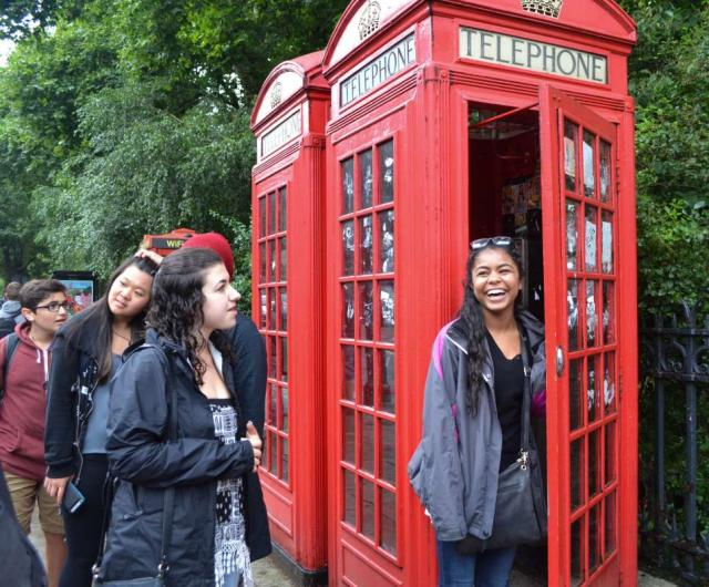Famous London red phone box seen on teen travel tour to England