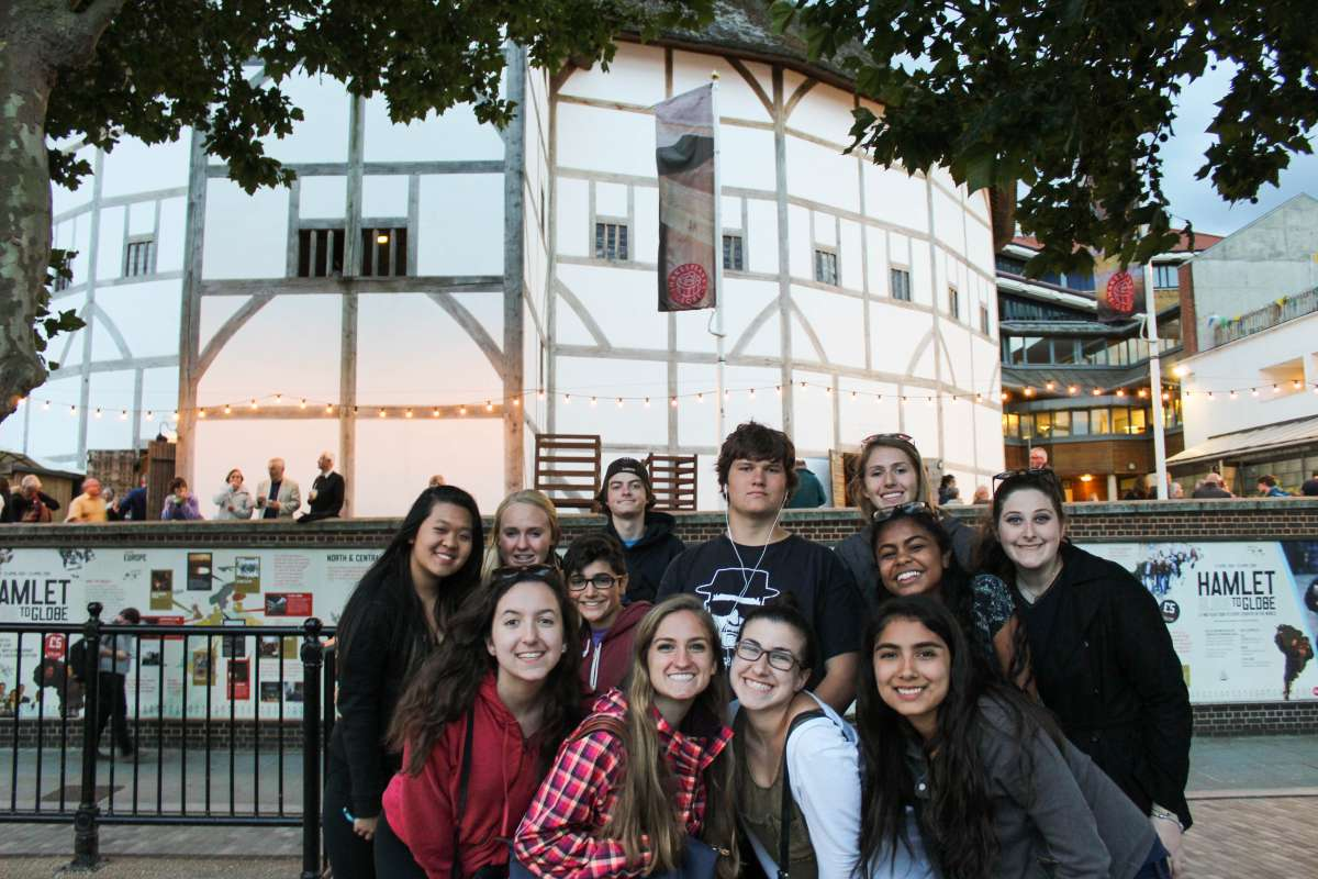 Younger teen travelers at Shakespeare's Globe Theatre in London on student travel program