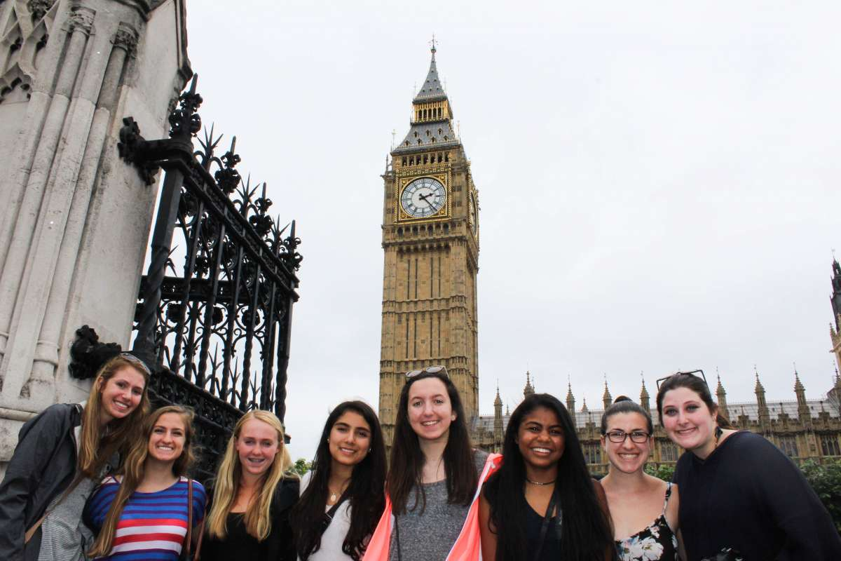 Younger travelers visit Big Ben in London on summer youth travel program