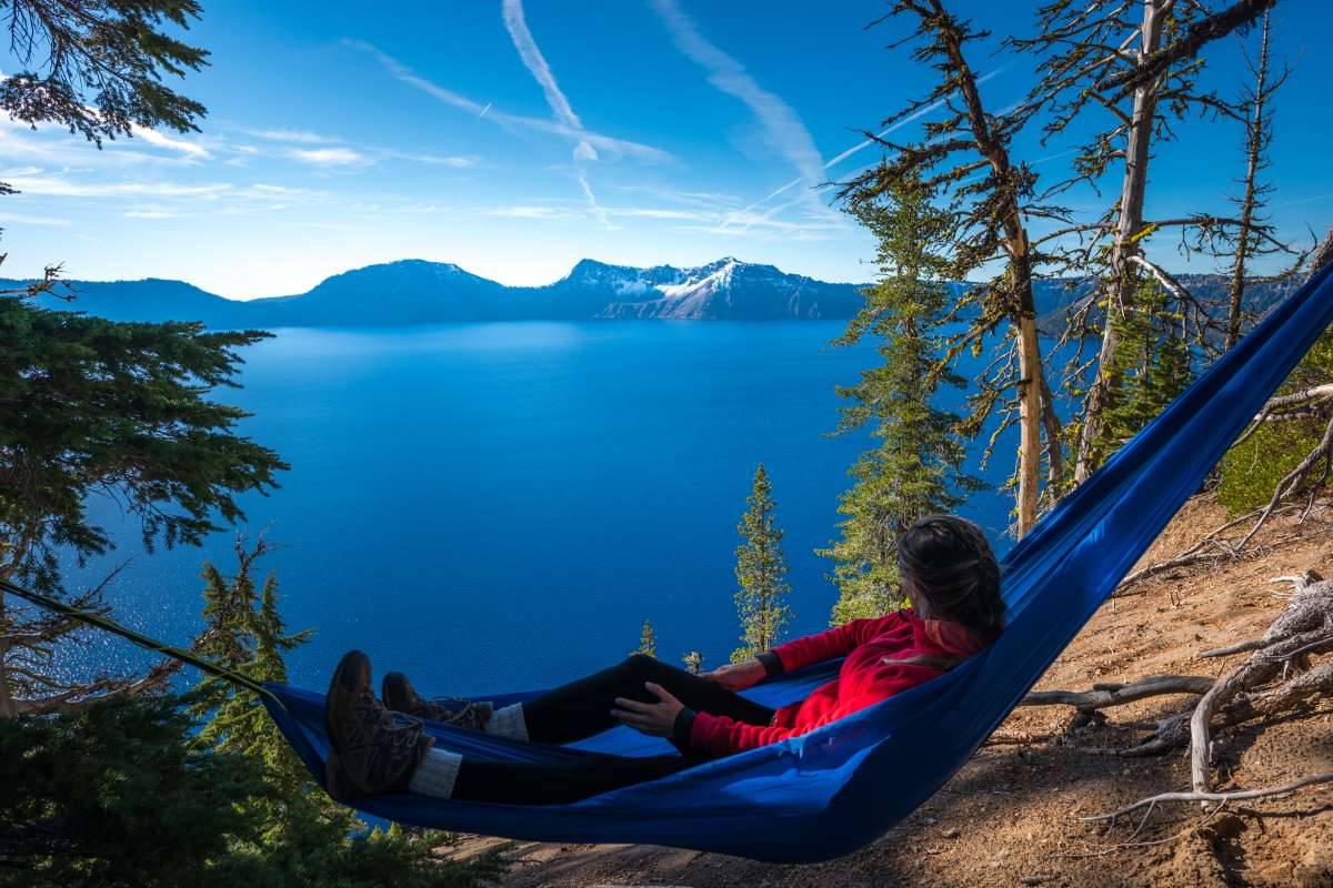 Woman Relaxing In Hammock Crater Lake Oregon