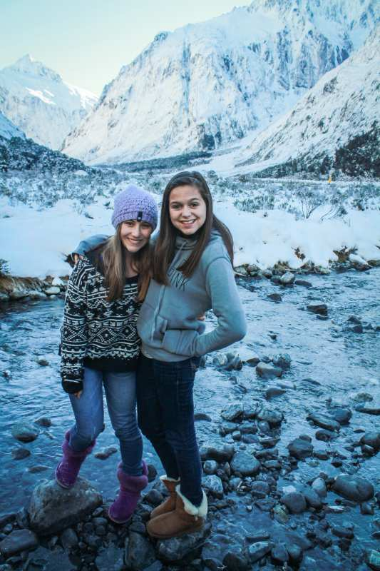 High school travelers bundle up in New Zealand on a summer teen tour Down Under.