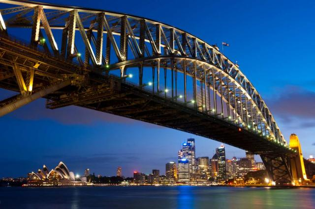 View of the Sydney Harbour Bridge from a teen travel trip to Australia and New Zealand.