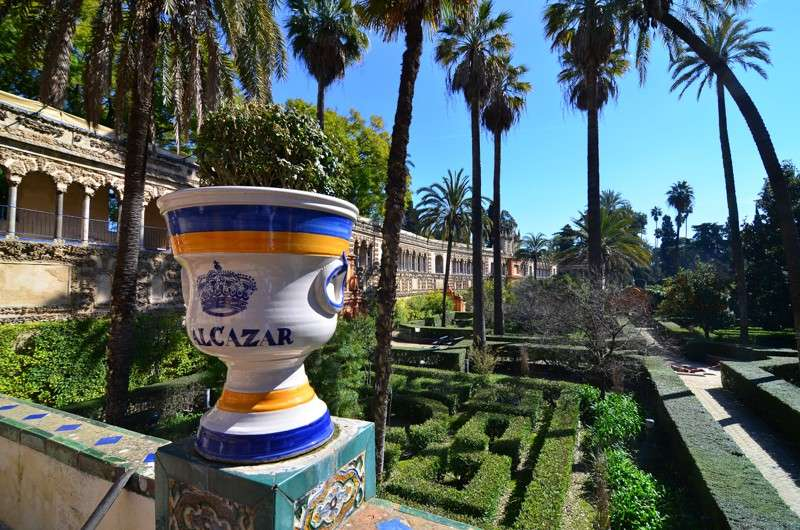 View of Alcazar Gardens during summer teen travel adventure program in Seville