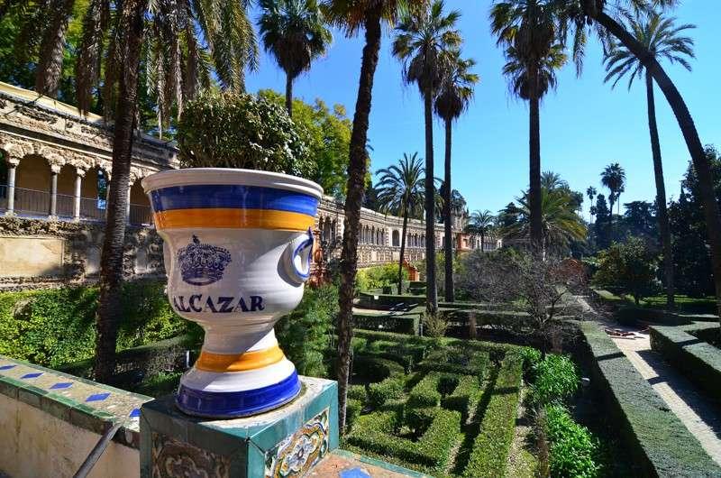 View of Alcazar Gardens during summer teen travel adventure program in Seville