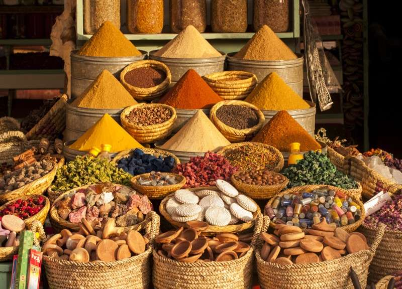 Spice market in Marrakech souk seen on summer teen adventure travel program