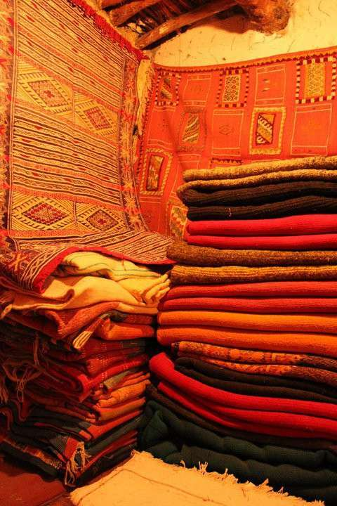 Textiles and fabrics seen in Marrakech souk on summer teen travel program