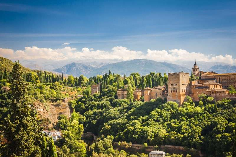 View of Alhambra Palace and Sierra Nevada during summer teen travel program in Granada