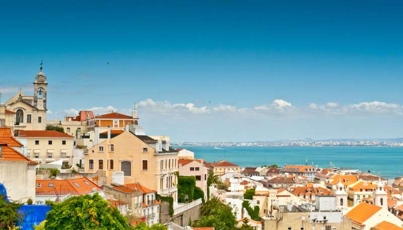 View of Lisbon Alfama neighborhood seen on summer teenage traveler program
