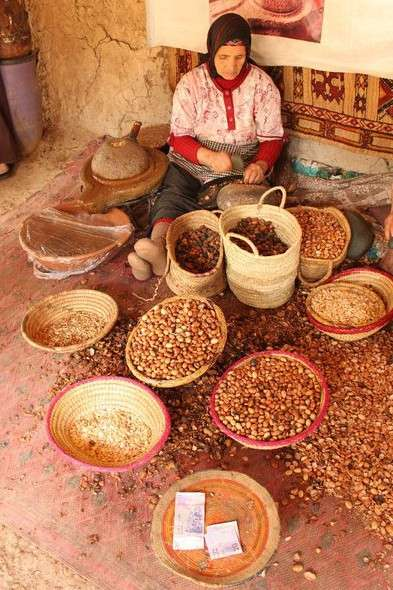 Moroccan woman shells argan nuts in Marrakech souk seen on summer teen travel program