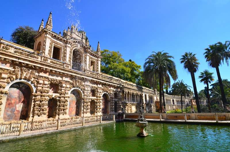 Alcazar gardens and waterfall seen on summer teen travel program in Seville