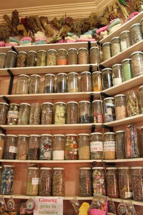 Moroccan spice market in souk seen on summer teen travel program