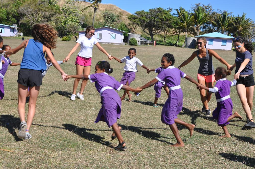 Youth travelers helping communities during teen volunteer program in Fiji